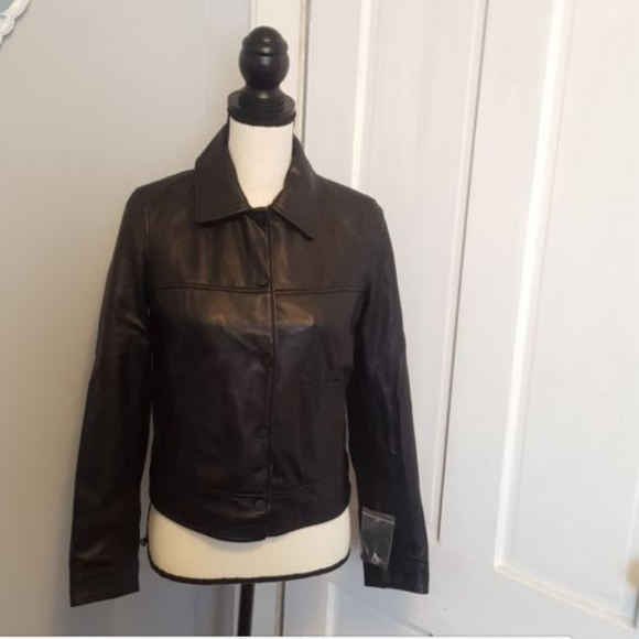 163c09a40 Zara Womens Black Leather Jacket Size Small NWT